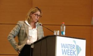 La Directora de Aguas del Banco Mundial, Jennifer Sara, expone en el foro sobre las limitantes a la implementación de reformas a la gestión del recurso hídrico en latinoamérica.
