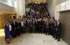Numerosos ex alumnos, además de profesores y estudiantes de la carrera de Ingeniería Civil de Minas de la U. de Chile se reunieron en la cena de aniversario. (Foto: Depto de Ingeniería de Minas - U. de Chile)