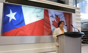 La ministra de Minería, Aurora Williams, durante su intervención en el seminario organizado por la Bolsa de Valores de Toronto y la Bolsa de Santiago. (Foto: Ministerio de Minería)s