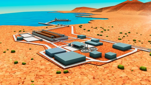 Maqueta proyecto Dominga. En la imagen, la zona portuaria. (Imagen: Andes Iron)