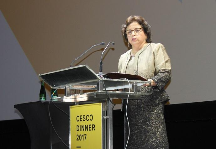 La ministra de Minería, Aurora Williams, durante su discurso en la Cena Cesco 2017. (Foto: Ministerio de Minería)